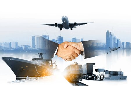 The world logistics , there are  logistic network distribution on background and Logistics Industrial Container Cargo freight ship for Concept of fast or instant shipping Imagens