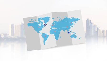 airplane with world  map for travel or business trip concept