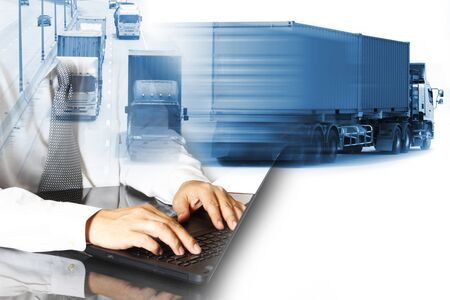 Truck run on road, Drive on road, transportation logistics concept,Businessman hold tablet or mobile phone working control logistics or import export industry