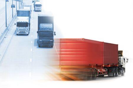 Truck run on road, Drive on road, transportation logistics concept Reklamní fotografie
