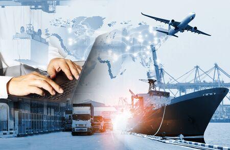 El fondo de logística mundial o la industria del transporte o el negocio de envío, envío de carga de contenedores, entrega de camiones, avión, concepto de importación y exportación Foto de archivo