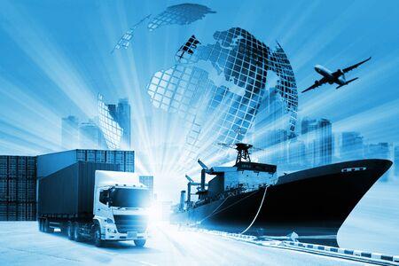 Der Weltlogistikhintergrund oder die Transportindustrie oder das Schifffahrtsgeschäft, Containerfrachtversand, LKW-Lieferung, Flugzeug, Import-Export-Konzept