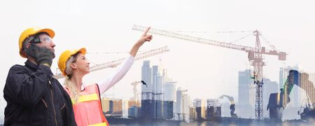 Engineer on site, they are working at building construction area. Industry of construction site and engineer working