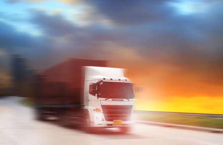Truck run on road, Drive on road, transportation logistics concept Standard-Bild