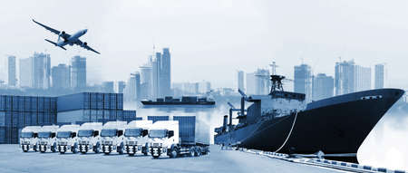 The world logistics , there are world map with logistic network distribution on background and Logistics Industrial Container Cargo freight ship for Concept of fast or instant shipping Stock Photo