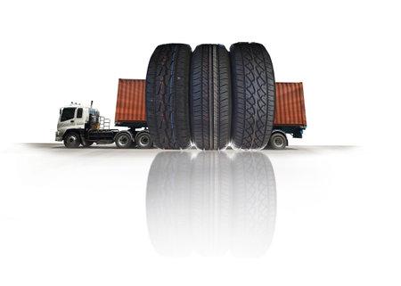 Truck run on road, Drive on road, transportation logistics concept 스톡 콘텐츠