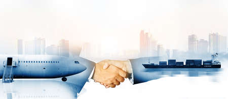 Businessman handshake , he is planning management smart logistic concept,logistic network distribution concept of fast or instant shipping, Transportation, import-export and Logistics