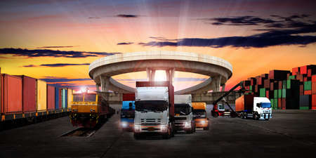 The world logistics background or transportation Industry or shipping business, Container Cargo shipment , truck delivery, airplane , import export Concept