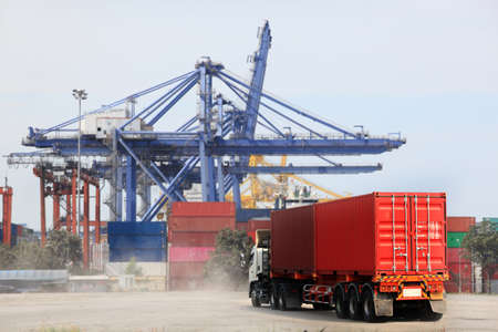 logistic network distribution on background and Logistics Industrial , Container ,transportation Industry or shipping business, Container Cargo shipment, truck delivery, airplane, import export Concept