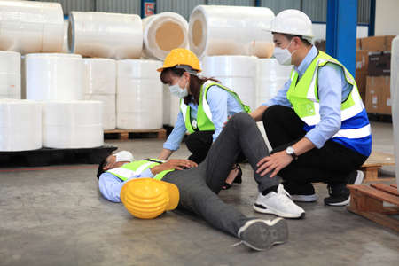 Dangerous accident in warehouse during work , worker accident factory , safety first for working