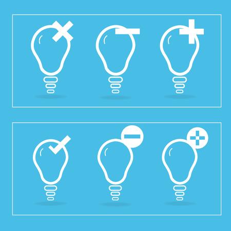 unite: Icon lamp symbols that unite the set on a blue background.