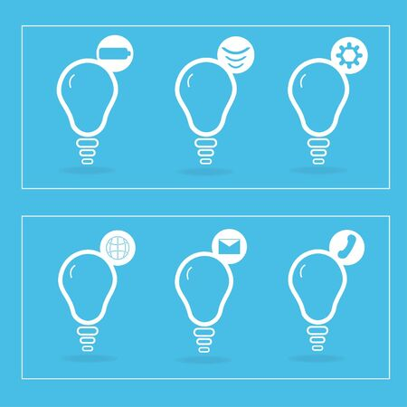 compact fluorescent lightbulb: Icon lamp symbols that unite the set on a blue background.