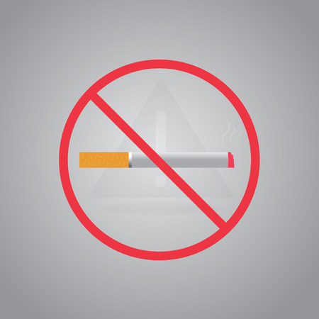 smoldering cigarette: No smoking sign.Stop smoking symbol. Vector illustration. Filter-tipped cigarette. Icon for public places. Illustration