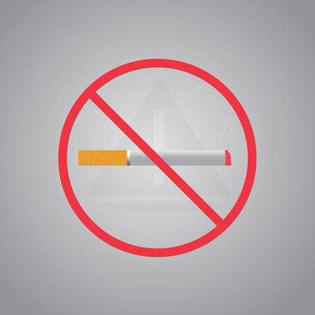 smoldering: Simbolo di fumare Non fumare sign.Stop. Illustrazione vettoriale. Filtro punta sigaretta. Icona per i luoghi pubblici.