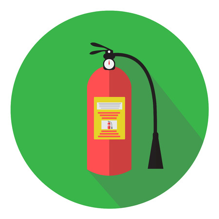 firealarm: Fire extinguisher flat design icon with long shadow Illustration