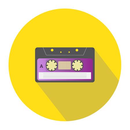 audio cassette: Audio cassette single color flat icon. Vector illustration. Illustration