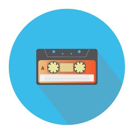 casette: Audio cassette single color flat icon. Vector illustration. Illustration
