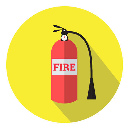 Fire extinguisher flat design icon with long shadow Illustration