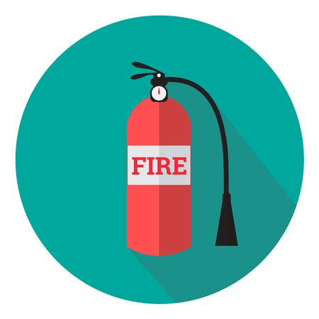suppression: Fire extinguisher flat design icon with long shadow Illustration