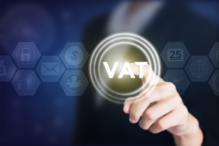 Business woman holding posts in VAT. Can be used in advertising.