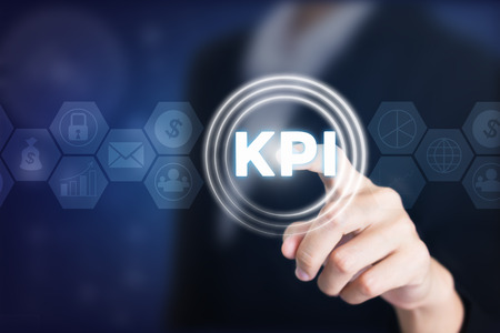 Business women holding posts in KPI. Can be used in advertising.