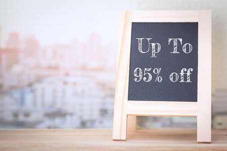 95: Concept up to 95% off message on wood boards Stock Photo
