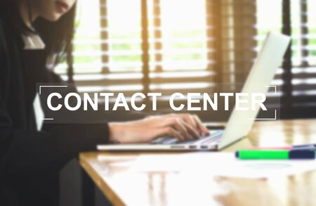 contact center: Concept Contact Center message on background women working. Vintage tone. Stock Photo