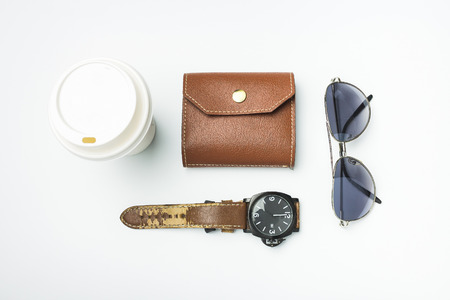 wallet with Watch and coffee cup, flat lay, top view background