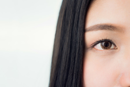 The face and eye of a woman with good skin health and pink lips. Eyes are looking forward. copy space for use in advertising beauty products. Stock Photo