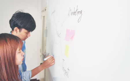 men and woman are writing a plan on a white board. To present to the team. Planning concept by writing drafts of work.