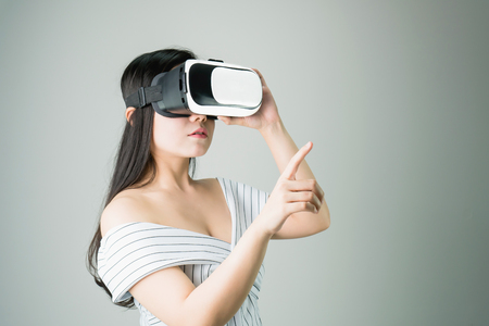 woman wore a virtual reality headset that simulates, the reality and looked up to see what the virtual reality was capable of rendering.