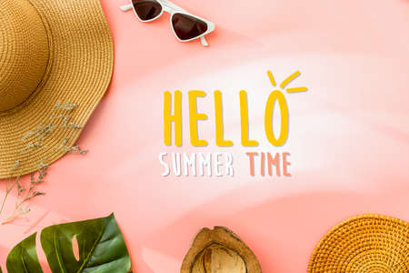 Hello summer time concept, Top view on pink background and hat, glasses with coconut. 版權商用圖片