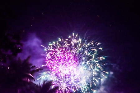 The colorful light of fireworks at The New Year's night at Pattaya beach, Thailand Stock Photo
