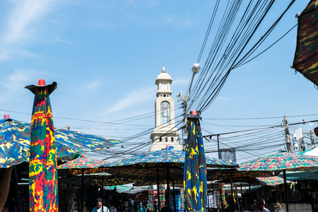 Bangkok, Thailand - January 13, 2018: View of Chatuchak Weekend Market with time tower in Bangkok, Thailand Editorial