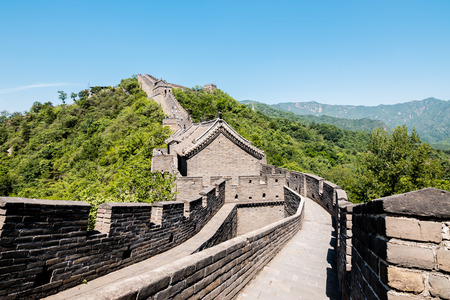 View of the ruins of the Great Wall of China at Mutianyu section in northeast of central Beijing, China. Imagens - 122187499