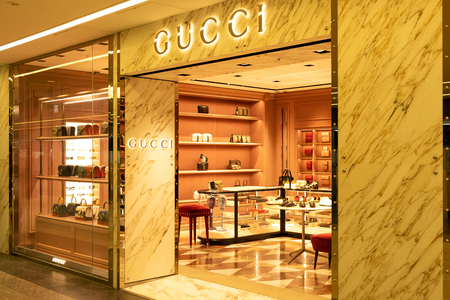 Chiba, Japan - March 24, 2019: View of  Gucci front store, an Italian luxury brand of fashion and leather goods, at Narita International Airport, Chiba, Japan.