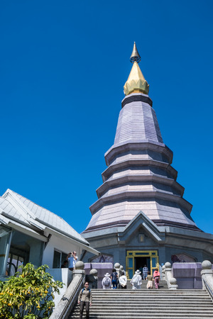Chiang Mai, Thailand - February 22, 2019: View of people travel at Phra Maha Dhatu Nabhapolbhumisiri or The Great Holy Relics Pagoda Nabhapolbhumisiri at Doi Inthanon National Park, Chiang Mai. Editorial