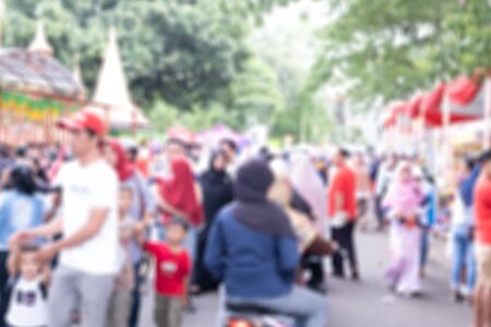 Blurred background of Muslim people on the street
