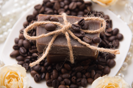 decorative objects: Composition with grains of coffee, soap and decorative objects Stock Photo