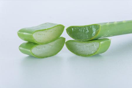 Aloe vera fresh leaf isolated on white background Stock Photo