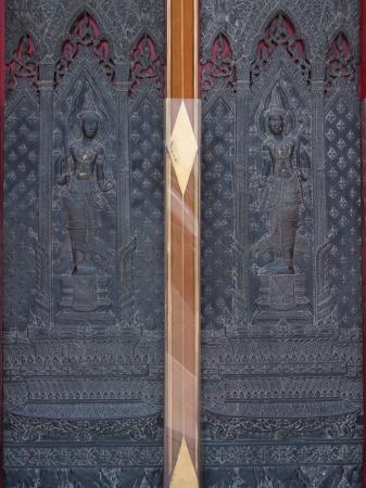 Thai design craft on door in Wat Benchamabophit thailand photo & Thai Ancient Design On Wooden Door In Temple Of Kalasin Thailand ...