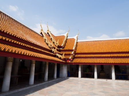 Roof temple in Wat Benchamabophit, thailand photo