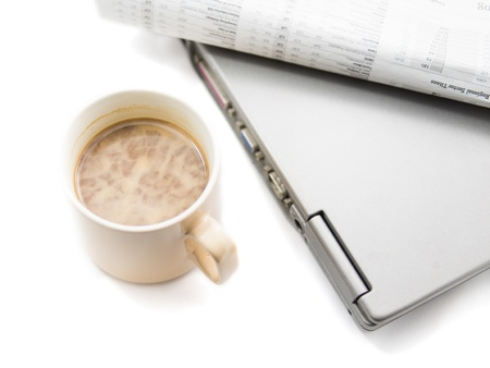 Morning coffee and laptop isolated on white Stock Photo - 18271905