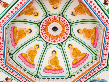 Ceiling painted in Buddhism pattern  Stock Photo - 18979328