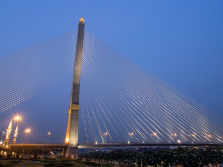 Rama 8 suspension bridge at night photo