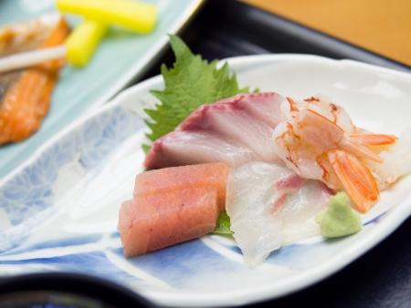 ambrosia: Mixed sashimi, raw fish, on traditional japanese plate