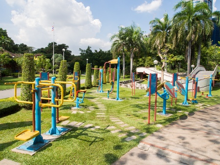 spring training: Colorful outdoor fitness equipment Stock Photo