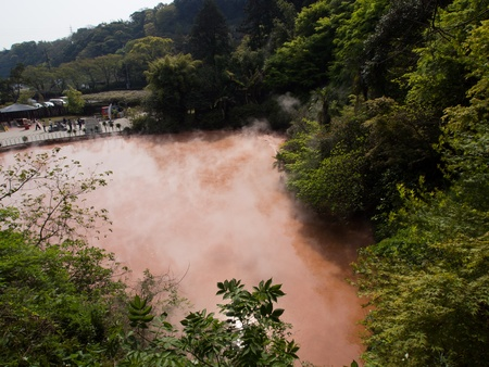Blood Pond Hell in Beppu, Japan photo