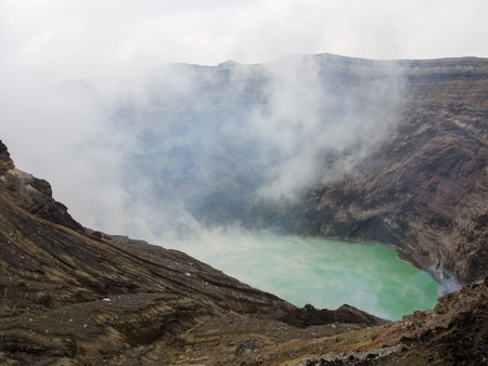 Crater of the volcano Aso photo