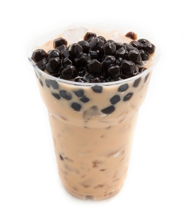 coffee and tea: bubble tea brown isolated on white